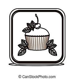 bottone, quadrato, silhouette, foglie, cupcake