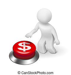 bottone spingendo, simbolo, 3d, dollari, uomo