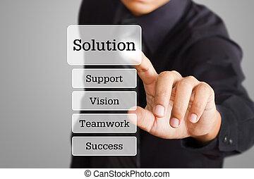bottone spingendo, soluzione, mano, tocco, interfaccia, uomo affari, schermo