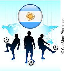 bottone, squadra, bandiera, internet, argentina, calcio, icona