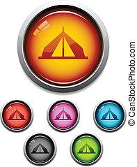 bottone, tenda, icona