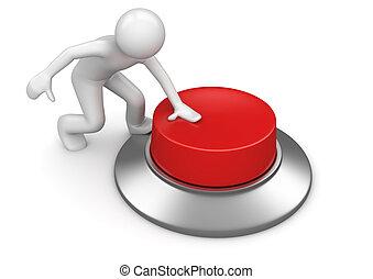 bottone, urgente, rosso, emergenza, uomo