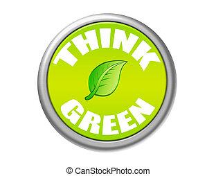 bottone, verde, pensare