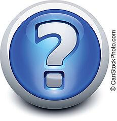 bottone, vetroso, punto interrogativo