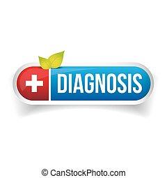 bottone, vettore, diagnosi, icona