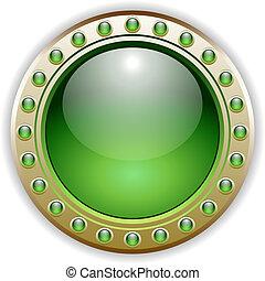 bottone, vettore, verde, lucido, illustrazione