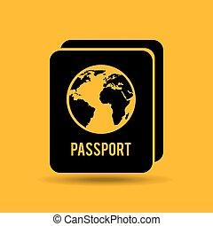 bottone, viaggiatore, identità, passaporto, disegno