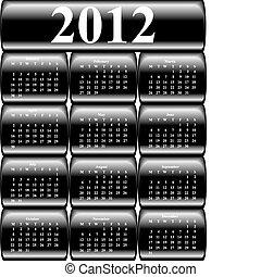 bottoni, 2012, vettore, calendario