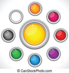 bottoni, 9, set, lucido, colorito