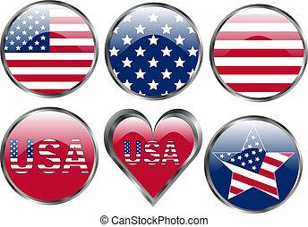 bottoni, americano, set, bandiera