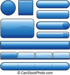 bottoni blu, lucido, internet
