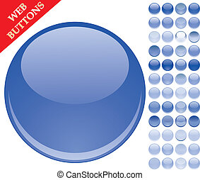bottoni blu, set, sfere, 49, icone, illustrazione, vetro, vettore, lucido, web