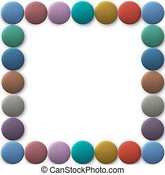 bottoni, cornice, 3d, colorato, rotondo