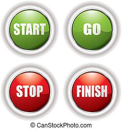 bottoni, inizio, fermata