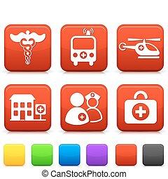 bottoni, medico, quadrato, icone internet