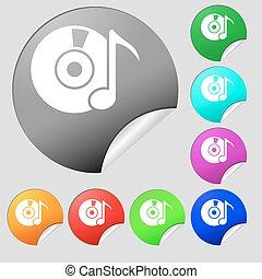bottoni, multi, set, colorato, dvd, segno., cd, vettore, otto, stickers., o, rotondo, icona