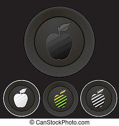 bottoni, nero, set, silhouette, mela