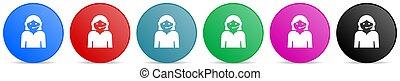 bottoni, opzioni, vettore, 6, pendenza, icone, set, centro, cerchio, domande, chiamata, colori, webdesign, mobile