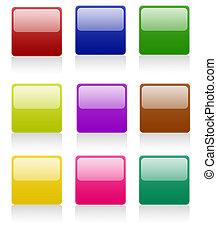 bottoni, quadrato, arrotondato