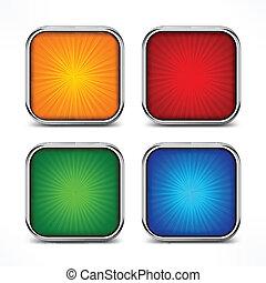bottoni, quadrato, colorato