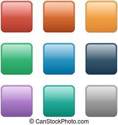 bottoni, quadrato, eps10, illustrazione, vetro, vettore