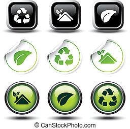 bottoni, riciclare, set, adesivi, vettore