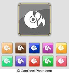 bottoni, set, colorato, segno., cd, luogo., undici, vettore, tuo, icona