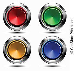 bottoni, set, cromo, colorato