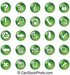 bottoni, set, icone