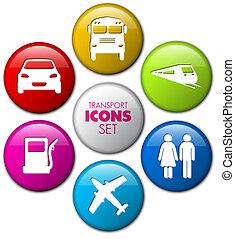 bottoni, set, rotondo, trasporto, 3d