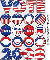 bottoni, vario, politico, icone