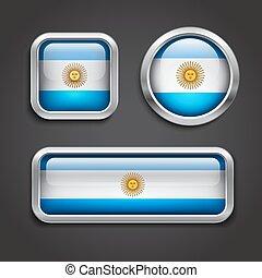 bottoni, vetro, bandiera argentina