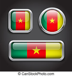 bottoni, vetro, bandiera, camerun