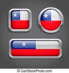 bottoni, vetro, bandiera, cile