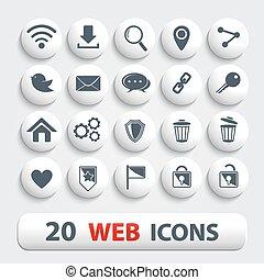 bottoni, web, bianco, uggia, icone