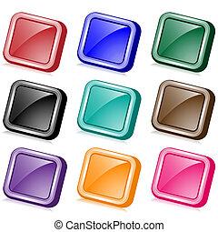 bottoni, web, quadrato, angolato