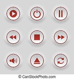 bottoni, web, rotondo, rosso, giocatore