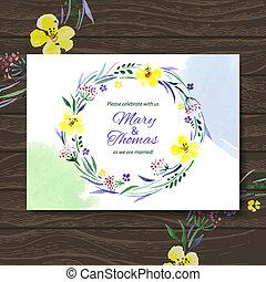 bouquet., acquarello, vettore, fondo, invito, floreale, matrimonio, scheda