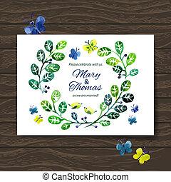 bouquet., invito, scheda, fondo, matrimonio, floreale, acquarello, vettore