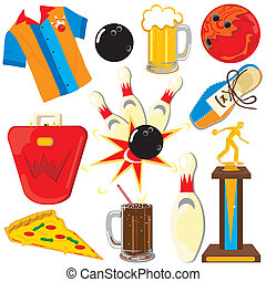 bowling, elementi, clipart, icone