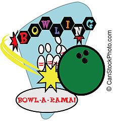 bowling, illustrazione, retro