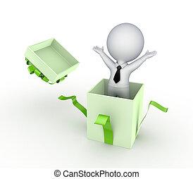 box., persona, regalo, 3d, piccolo