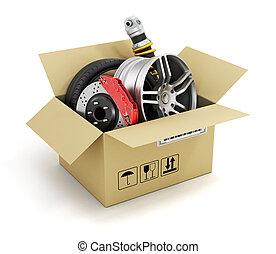 box., shop., auto, parti, automobilistico, cesto, store., cartone