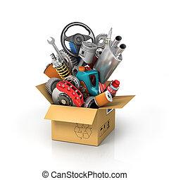 box., shop., auto, parti, automobilistico, cesto, store., scheda