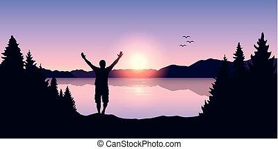 bracci alzati, lago, felice, alba, uomo