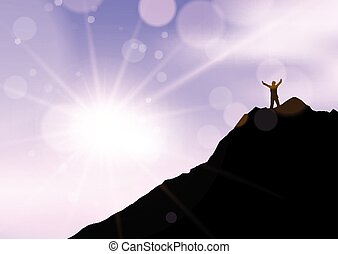 braccia, contro, stato piedi, 2707, scogliera, bordo, silhouette, elevato, cielo, maschio, tramonto
