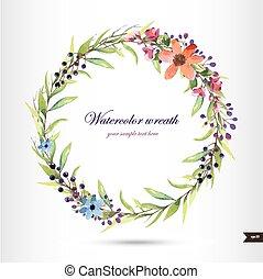 branch., ghirlanda, fiori, acquarello, fogliame