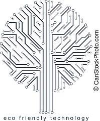 branches., creato, eco, linee, concept., wireframe, albero, illustrazione, vettore, collegato, tecnologia, amichevole