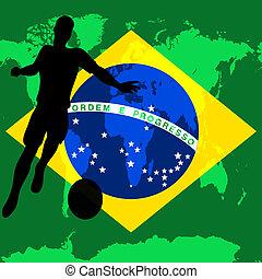 brasile, campionato, football, illustrazione, bandiera, vettore, /, brasiliano, internazionale, calcio, 2014