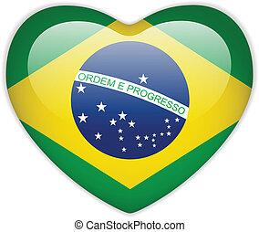 brasile, cuore, bandiera, lucido, bottone